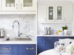 kitchen cabinets white uppers dark  blue lowers and white countertop | Two toned kitchen cupboards with blue lowers and white uppers by ...
