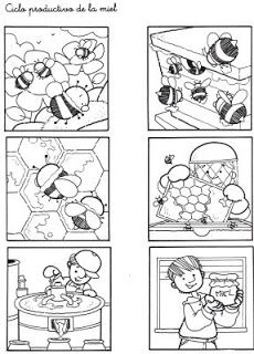Secuencias Temporales para recortar y colorear! Bees For Kids, Story Sequencing, Bee Crafts, Picture Story, Bee Theme, Bugs And Insects, Bee Happy, Life Cycles, Bee Keeping