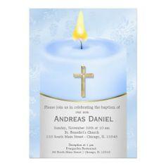 Blue Baptism Candle Card