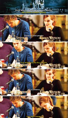 Emma Watson and Dan Stevens at the table read for the live-action Beauty and the Beast