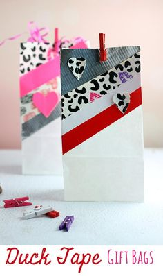 DIY Duck Tape Gift Bags and Hearts for Valentine's Day