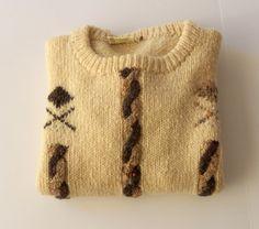 Irish Wool Sweater Gaeltarra Hand Loomed Cream by BeeHavenHome