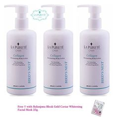 3 Bottles of La Puret Collagen Moisturising Body Lotion 300mlSuper Antioxidant Japanese Bird Nest ExtractGet Free Tomato Facial Mask * You can find out more details at the link of the image from Amazon.com