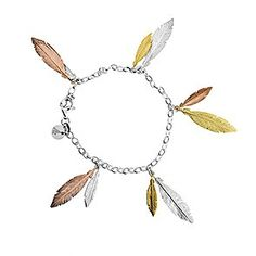 Ten detailed little sterling silver feathers are suspended from a silver belcher chain to create this striking bracelet. The feathers are finished in an attractive combination of silver, gold vermeil and rose gold vermeil. Feather Jewelry, Feather Earrings, Large Feathers, Festival Accessories, Spiritual Gifts, Contemporary Jewellery, Jewelry Bracelets, Rose Gold, Pendant Necklace