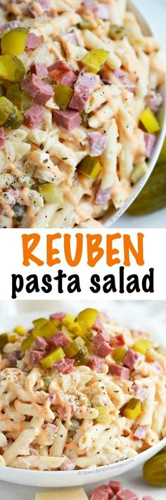 This Reuben Pasta salad has all of the amazing flavors of your favorite Sandwich! Corned beef, swiss, sauerkraut and pickles are tossed with a simple Reuben inspired dressing for one the best potluck salads you've ever had! (cold food for parties) Creamy Pasta Salads, Pasta Salad Recipes, Cold Pasta Salads, Macaroni Salads, Zoodle Recipes, Corned Beef, Sandwiches, Potluck Salad, Cooking Recipes