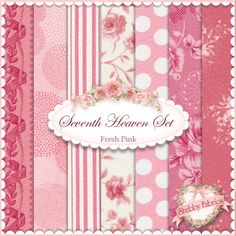 Seventh Heaven 7 FQ Set - Fresh Pink: This Seventh Heaven Set is an exclusive Shabby Fabrics creation! We have taken the guesswork out of finding coordinating fabrics. This set contains 7 coordinating fat quarters, each measuring approximately 18