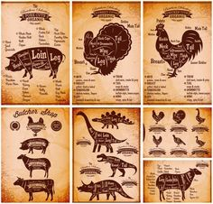 Set of 7 #vector meat cuts charts (posters or backgrounds) with different kind of meat illustrations in nice and beautiful design style