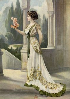 Les Modes August 1908, dinner dress by Zimmermann, photo by Félix,