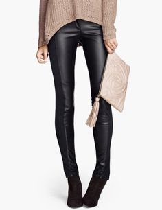 slim black leather-like leggings