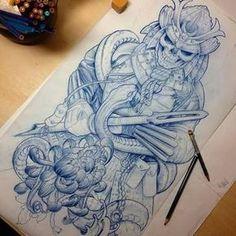 Awesome sleeve design jaromir mucowski tattoos самурайское т Japanese Tattoo Art, Japanese Tattoo Designs, Japanese Art, Japanese Warrior Tattoo, Skull Tattoos, Body Art Tattoos, Sleeve Tattoos, Ink Tattoos, Tatoos