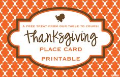 FREE Printable: Thanksgiving Place Cards