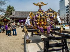 Until their spirits/kami return to the Asakusa Jinja shrine, the three omikoshi remain in the shrine's grounds –it's a rare chance to see them from up close outside Sanja Matsuri  #Asakusa, #Jinja, #mikoshi March 18 2015 © Grigoris A. Miliaresis