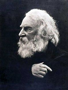 Henry Wadsworth Longfellow, 1868 by Julia Margaret Cameron.His wife died when a dropped match ignited her enormous hoop skirt