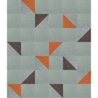 """This area rug features <a href=""""<product_id>631</product_id>"""">Heaven Sent</a> in Flannel Blue, <a href=""""<product_id>629</product_id>"""">Made You Look</a> in Flannel Blue, and <a href=""""<product_id>660</product_id>"""">In The Deep</a> in Clementine and Mink.  To assemble your rug, just use the FLORdots in the box with your squares."""