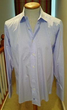 David Donahue Men's Purple Stripe French Cuff Dress Shirt Size 16 32/33 #DavidDonahue