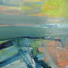 'Fields Across the Firth of Forth' by Mairi Clark Oil on canvas: 30 x 30 cm Signed French Art, Fields, Oil On Canvas, British, Fine Art, Contemporary, Painting, French Artwork, Painting Art