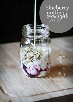 Blueberry Muffin Overnight Oats by lecremedelacrumb #Oatmeal #Blueberry #Overnight #Healthy