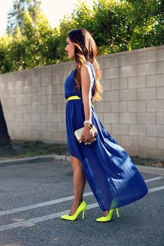 royal blue high-low dress with neon accessories