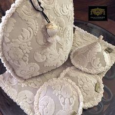Tea Cozy & Tea Mat & Pot Mat Velvet Damask by Decor CLASSIQUE