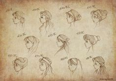 Ancient Greek Hairstyles / Also found at: http://ninidu.deviantart.com/art/Ancient-Greek-Hairstyles-345529964