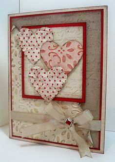 Shabby Distressed Valentine's Card...with inked embossed paper.