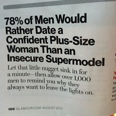 Need A Little Motivation? You don't need a magazine to tell how to look. You are beautiful and there are men out there that will love you for you. Be proud of who you are so  that your not starving yourself everyday just to look like the Victorias secret models in the paper that are probably photo shopped. Love YOUrself.