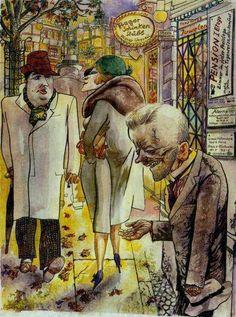 Berlin Street Scene, 1930 by George Grosz (German, American Max Beckmann, Max Oppenheimer, Illustrations, Illustration Art, Art Dégénéré, Ludwig Meidner, George Grosz, Art History, Comics