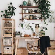 Cheap Home Office Ideas Home Office Space, Home Office Design, Home Office Decor, Home Decor, Interior Office, Bohemian Interior, Scandinavian Interior, Bedroom Desk, Room Ideas Bedroom
