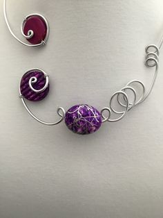 Your place to buy and sell all things handmade Teal Jewelry, Funky Jewelry, Stylish Jewelry, Modern Jewelry, Wire Jewelry, Wedding Jewelry, Purple Necklace, Wire Necklace, Wire Wrapped Necklace