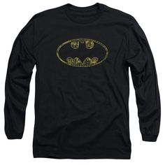 Batman - Tattered Logo Adult Long Sleeve T-Shirt