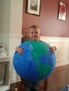Earth costume, paper mached 36 inch beach ball, awesome!