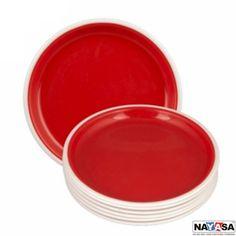 Nayasa Dinner Plates: Buy Nayasa Mf Round Full Plate Set Of 6 Pcs, Red Online | Oyekitchen.com
