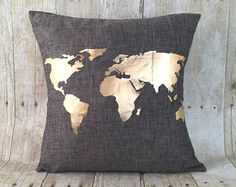Free Shipping, metallic gold World Map pillow with insert