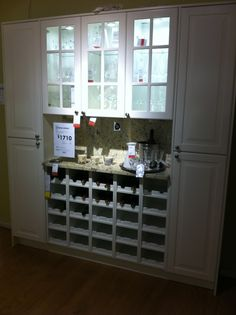 IKEA in store cabinets - white shaker style White Shaker Cabinets, Galley Kitchens, Shaker Style, Kitchen Interior, Home Organization, Home Remodeling, Liquor Cabinet, Ikea, Storage
