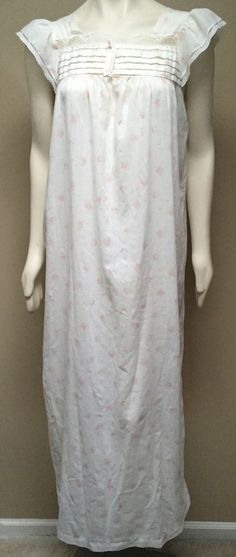 *NIGHT FLOWERS OF NEW YORK* Women's Vintage Cream Pink Floral Long Nightgown  | eBay