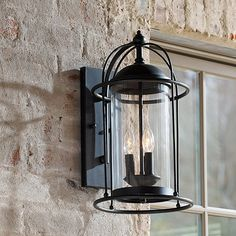The caged design of our Verano Outdoor Wall Sconce is nautically inspired with a modern flair. Solid iron frame surrounds a light-filled cylinder of glass. Bathroom Sconce Lighting, Bathroom Wall Sconces, Outdoor Wall Sconce, Outdoor Walls, Outdoor Lighting, Exterior Lighting, Outdoor Decor, Black Wall Sconce, Rustic Wall Sconces
