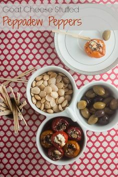 Goat Cheese Stuffed Peppadew Peppers. A little sweet, a little spicy, a lot awesome.