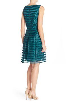 Tahari Shadow Stripe Fit & Flare Dress (Regular & Petite)