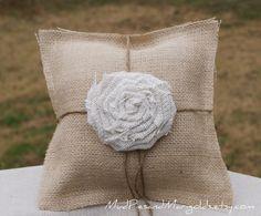 Burlap Ring Bearer's Pillow with Large Rosette