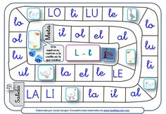 Board for Juego de la oca - Easy game with boards for letters, syllables, and full words Phonics For Kids, Phonics Song, Alphabet Phonics, Alphabet For Kids, Phonics Words, Learning The Alphabet, Alphabet Songs, Phonics Chart, Phonics Worksheets