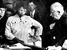 Mrs. Lizzie Sheppard, She brought a supremacist to court: Charging that a white preacher struck her with a rake when she refused to get off the sidewalk in front of his home, 5 1/2 months pregnant Mrs. Lizzie Sheppard listens as Rev. Elbert D. Riddick pleads his case in a Portland, Oregon courtroom. For his crime he was fined $50.00.