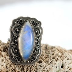 Silver Moonstone Ring Cocktail Ring Statement by MauraSarabeth, $110.00