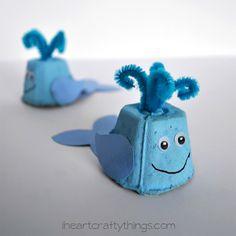 10 ideias de brinquedos caseiros com caixa de ovo- baleia