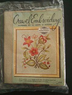 Vintage Crewel Embroidery KIT - Beautiful floral design on linen = Free USA Ship #ElsaWilliams