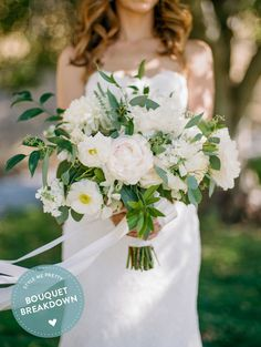 Bouquet Breakdown: Elegant California Garden Wedding - Style Me Pretty Peony Bouquet Wedding, White Wedding Bouquets, Bride Bouquets, Bridal Flowers, Floral Wedding, Purple Bouquets, Flower Bouquets, Bridal Bouquet Pink, Bridesmaid Bouquets