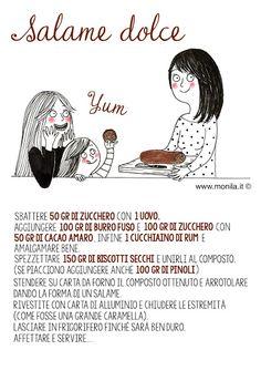 Monila,Monila handmade,illustrazione,ricette illustrate,recipe,illustration,salame dolce