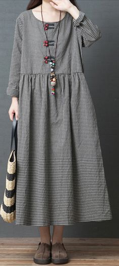 3ac8fa3115 Handmade black Plaid linen dresses Korean Fabrics o neck patchwork long  Dress