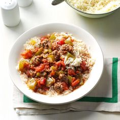 One-Pot Beef & Pepper Stew Recipe -I'm a fan of green veggies. If it's green, it belongs in my hearty beef stew. We serve it with buttered French bread. Ground Beef Dishes, Ground Meat Recipes, Beef Recipes, Cooking Recipes, Healthy Recipes, Hearty Beef Stew, Dinner With Ground Beef, One Pot Meals, Soups And Stews