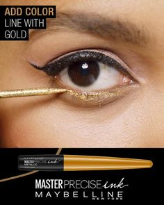Amp up your basic cut crease eye look with Maybelline's NEW Master Precise Ink metallic liquid liner. First, use black liner to create a standard cat eye. Next, sweep gold liner under the lower lash line. Hack your cut crease line by drawing dots with liner across your brow bone. Then, finish the look by connecting the dots with silver liner.