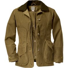 The Filson Women's Upland Jacket has a refined yet rugged look that is perfect for horseback rides through the country or meandering walks through the woods. A clean silhouette and a cut-and-sew construction give this jacket a modern, sexy feel, while two layers of Shelter Cloth (oil-finished on the outside and dry-finished on the inside) repel water to keep you dry if the rain surprises you. Two large bellows pockets and a water-proof game pocket make this jacket a fully functional choice…